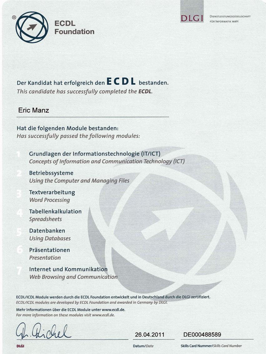 ECDL Zertifikat