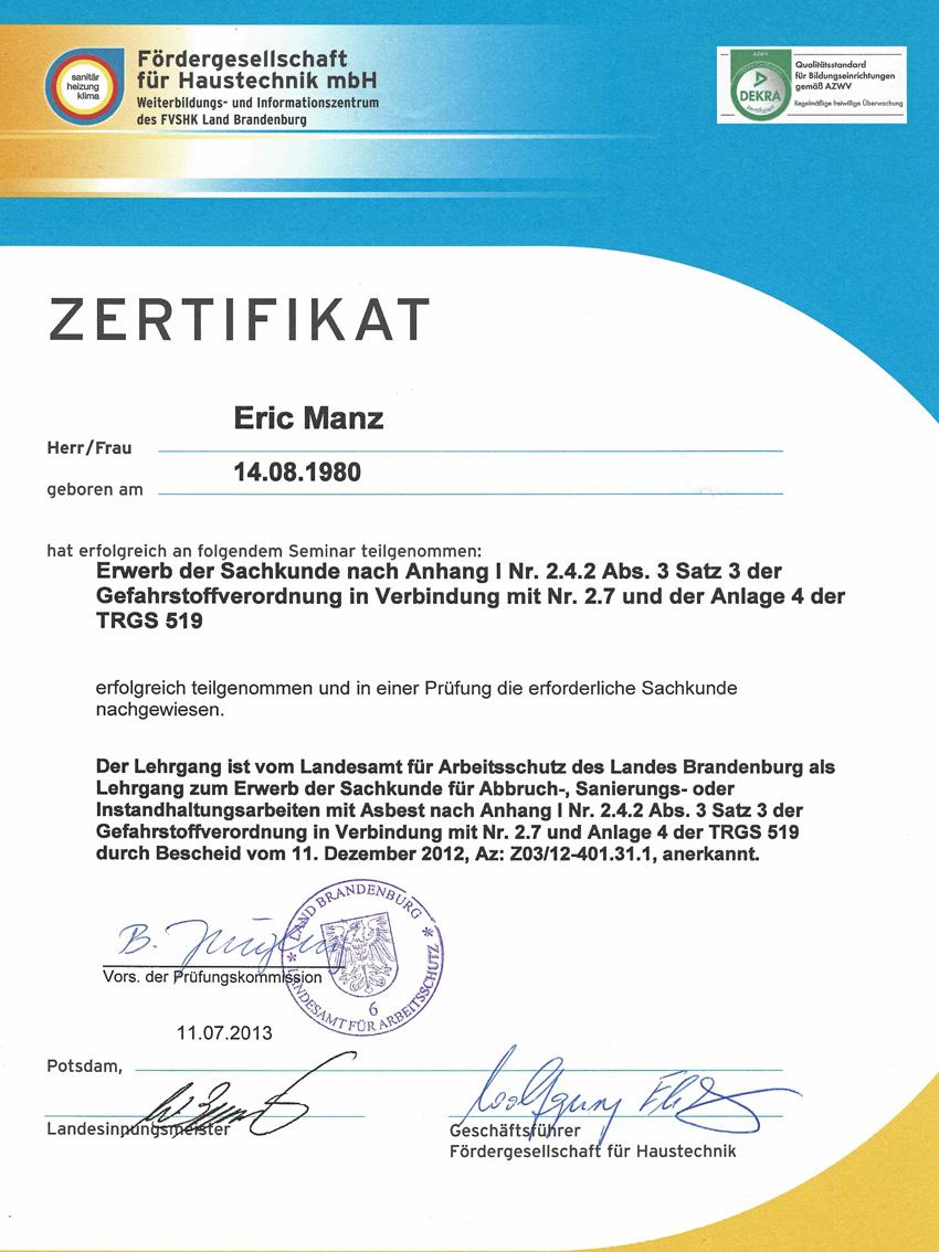 Zertifikat Sachkunde Gefahrstoffverordnung