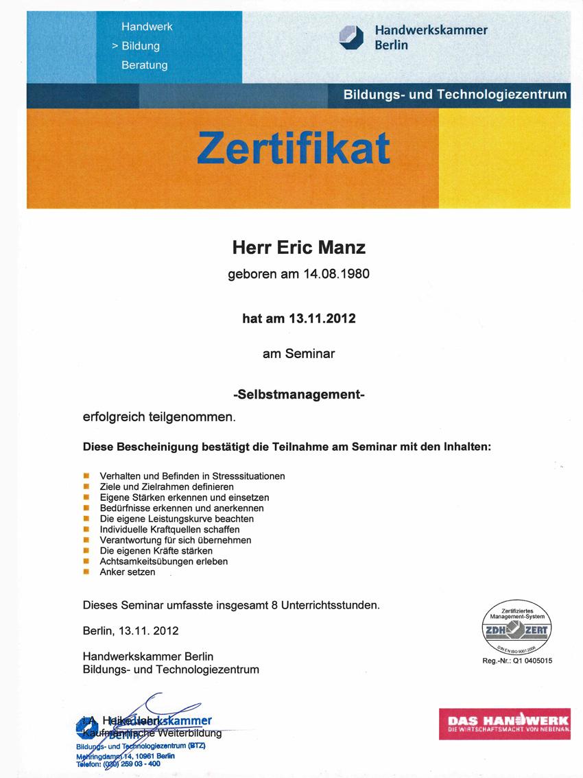 Zertifikat Selbstmanagement