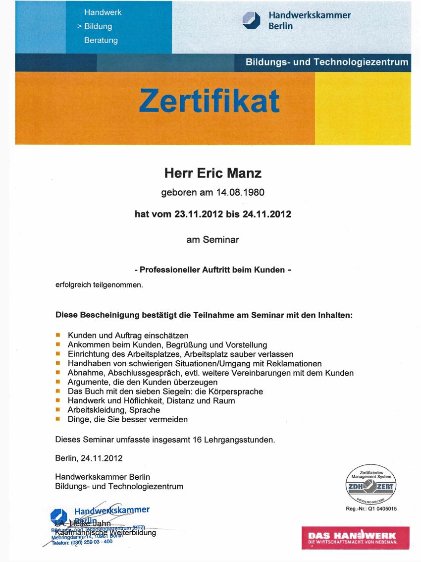 Zertifikat Seminra Professioneller Auftritt beim Kunden