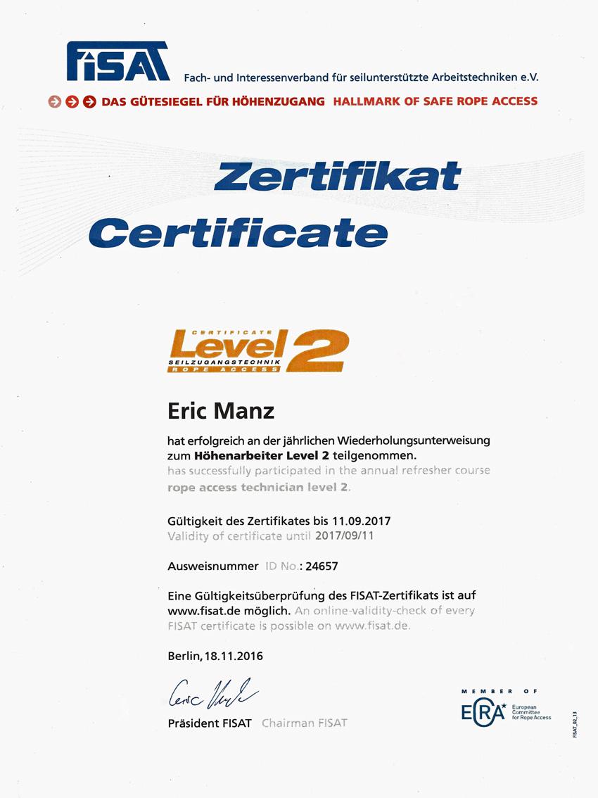 Zertifikat zum Höhenarbeiter
